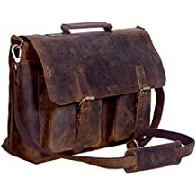 KomalC 15 Inch Retro Buffalo Hunter Leather Laptop Messenger Bag Office Briefcase College Bag