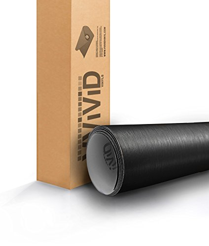 VViViD Black Brushed Steel 5ft x 6ft Car Wrap Roll Sticker Vinyl with Air Release ()