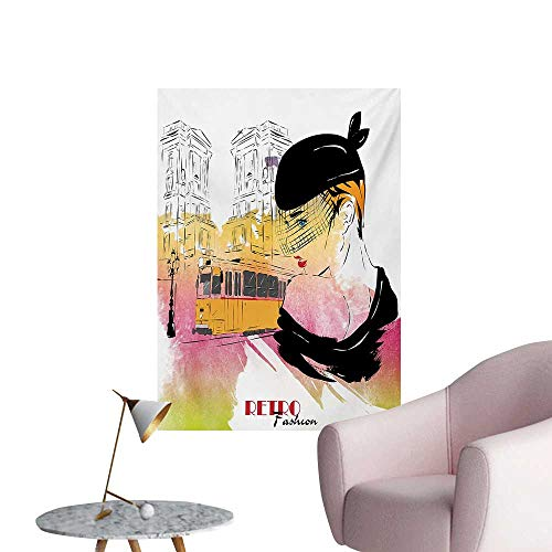 Anzhutwelve Girls Wall Paper Lady with Vintage Hat Posing in Front of Tramway Sketch Retro Romantic ArtOrange Pink Black W24 xL36 Art Poster