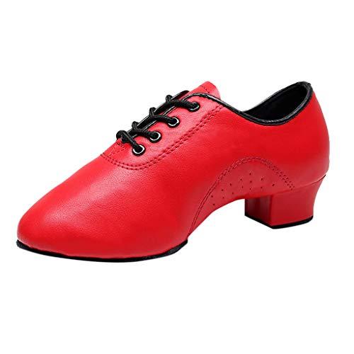(LOVOZO Women Professional Lace-up Leather Latin Salsa Tango Ballroom Modern Dance Shoes Red)