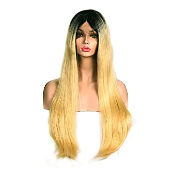 "New change 250% density Lace Front Synthetic Hair Nature Straight Wigs With Baby Hair Hand Tied Cap Heat Resistant Glueless Wig For Women(26""Black and Blonde)"