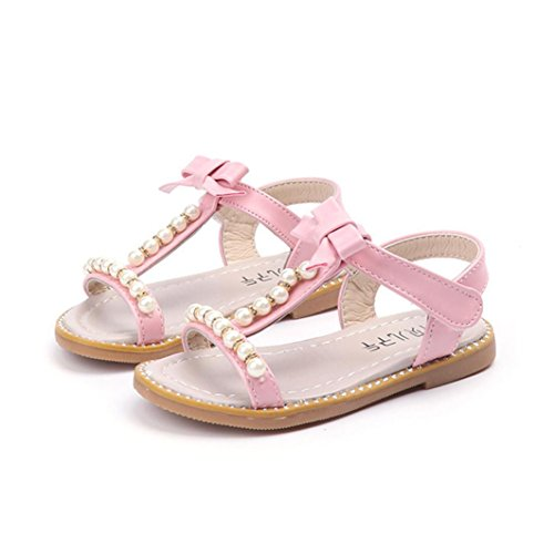 Deesee(TM) Baby Girls Flower Bowknot Pearl Crystal Roman Sandals Princess Shoes for 0-6Years Old (6MT-1T, Light (6mt 6 Light)