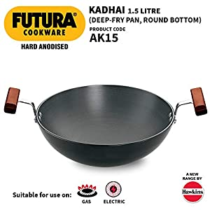 Hawkins Futura Hard Anodised Deep-Fry Pan / Kadhai (Round Bottom), Capacity 1.5 Litre, Diameter 22 cm, Thickness 3.25 mm…