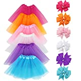 LYLKD 6Pcs Tutus for Girls Princess Ballet Tulle Skirt Dress Up Costumes(2-8T)