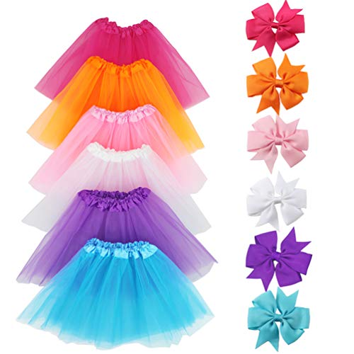 LYLKD 6Pcs Tutus for Girls Princess Ballet Tulle Skirt Dress Up Costumes(2-8T) ()