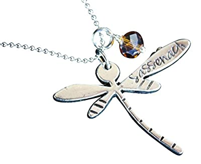 Dragonfly Sassenach Necklace - Pewter-Plated Pendant with Amber Colored Gem on Stainless Steel Ball Chain
