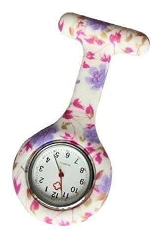 Bullahshah Lilac & Pink Floral Silicon Nurse Doctor Paramedic Tunic Brooch Fob Watch Medical Watch