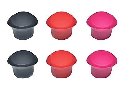 6 Pack Food Grade Silicone Reusable Leak-Proof Wine Bottle Stoppers