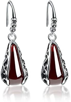 NOLOGO Gxbld-yy Retro 100% 925 Pendientes de Plata de Ley Pendientes Red For Women de la Vendimia de la Piedra Preciosa del Granate Mujer (Color : C)