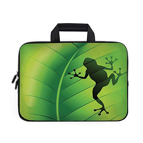 Quilted Frog (Animal Decor Laptop Carrying Bag Sleeve,Neoprene Sleeve Case/Silhouette of a Frog on the Exotic Macro Tropical Leaf Plant Wild Life Nature Illustration/for Apple Macbook Air Samsung Google Acer HP DEL)