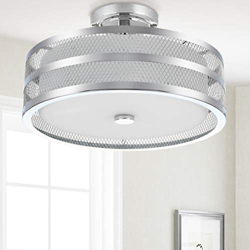 Collection Chrome Flush - Safavieh LIT4230B Collection Greta 3 Chrome 15.75