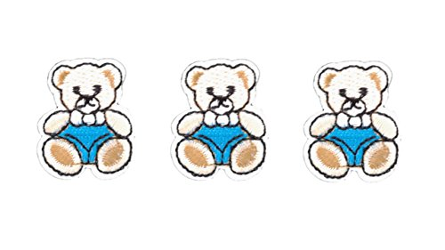3 small pieces Blue TEDDY BEAR Iron On Patch Fabric Applique Motif Children Scrapbooking Decal 1.3 x 1.1 inches (3.3 x 2.8 cm)