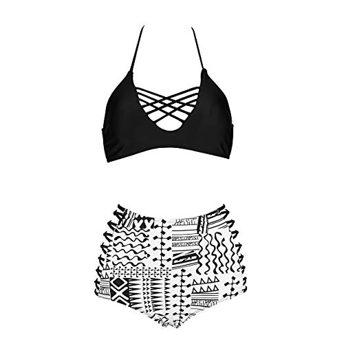 Black White High Waist Swimsuit Pin Up Girl Swimwear Halter Neck Top Lace Up Padded Top 3XL