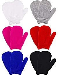 Boao 6 Pairs Stretch Mittens Winter Warm Knitted Gloves for Kids Toddler Supplies (Color Set 10)