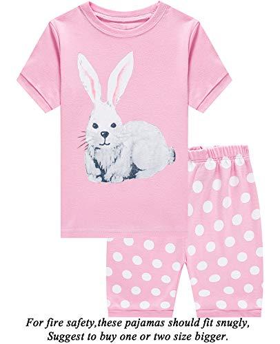 Girls Pajamas 100% Cotton Easter Gifts Rabbit Pjs Summer Short Set Toddler Clothes Kids Sleepwear ()
