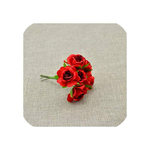 (April With You 6pcs Silk Flower Wedding car Bridal Bouquet Roses Artificial Flower for Decoration Scrapbooking DIY Wreaths Craft Candy Gift Box,red)