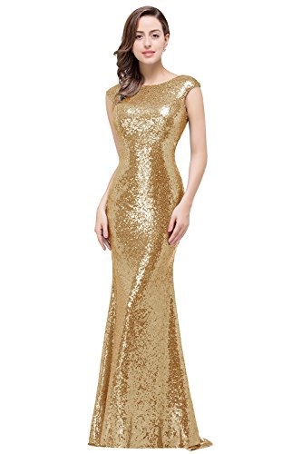 MisShow Open Back Mermaid Bridesmaid Dresses Sequins Wedding Party Gown Gold US6