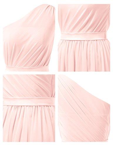 Alicepub Une Courte Ligne Robe De Soirée De Robe De Bal En Mousseline De Soie Robe De Demoiselle D'honneur Rose Perle Asymétrique