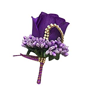 Cupcinu Rose Boutonniere for Men Wrist Corsage for Wedding Artificial Boutonniere Bouquet Perfect for Wedding Prom Party (Dark Purple) 79