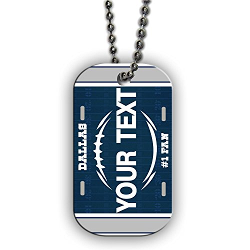 BleuReign(TM) Personalized Custom Name Football Dallas License Plate Single Sided Metal Military ID Dog Tag with Beaded Chain