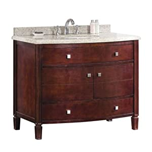Ove Decors Georgia 42 Bathroom 42-Inch Vanity Ensemble with Sandy Granite Countertop and Ceramic Basin, Tobacco