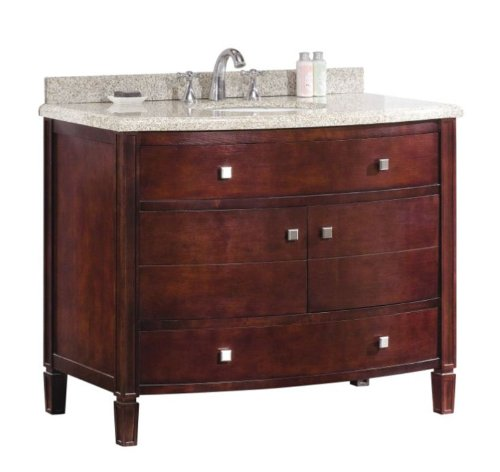 Ove Decors Georgia 42 Bathroom 42-Inch Vanity Ensemble with Sandy Granite Countertop and Ceramic Basin, - 42 Curved Inch Trim