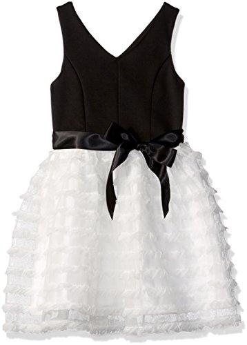 ZUNIE Big Girls' Sleevless Ponte to Novelty Mesh Skirt, Black/Ivory, 8