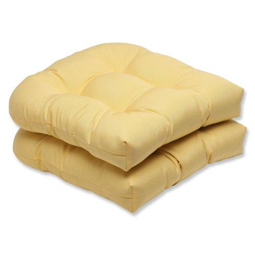 pillow perfect wicker seat cushion with yellow sunbrella fabric set of 2