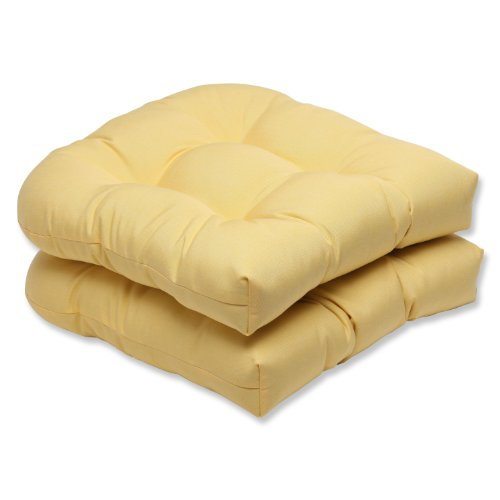(Pillow Perfect Indoor/Outdoor Wicker Seat Cushion with Sunbrella Canvas Buttercup Fabric, Set of 2, Yellow )