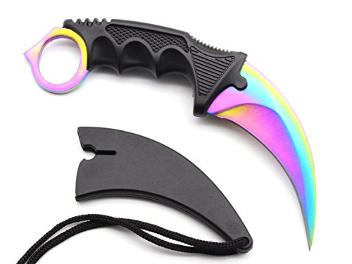 HOSANA Karambit Knife Stainless Steel Fixed Blade Tactical Knife with Sheath and Cord Nice Knife for Hunting Camping Fishing and Field Survival (Rainbow)