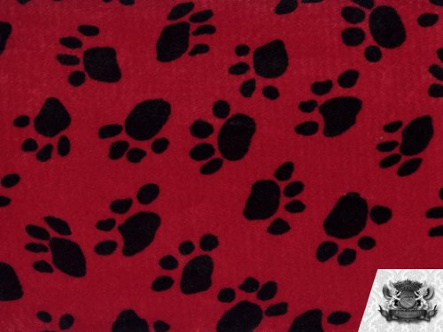 (Velboa Faux / Fake Fur Paw Print RED Fabric By the Yard)