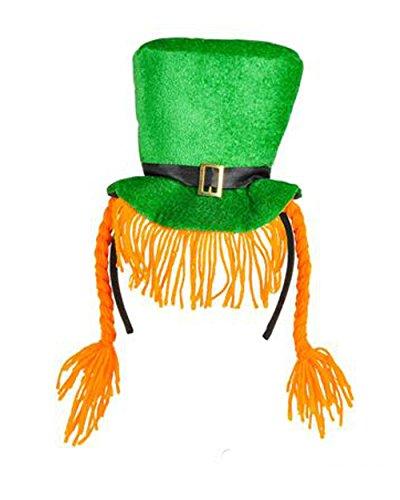 [Saint Patrick's Day Green Leprechaun Hat Headband With Braids Costume Accessory] (St Patrick The Saint Costume)