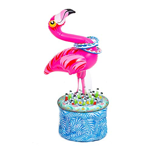"50"" Inflatable Flamingo Cooler with Toss Rings, Beach Theme Party Décor, Party Supplies for Pool Party, Flamingo Party and Birthday -"
