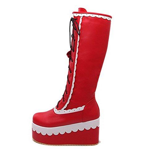 VogueZone009 Damen Hoher Absatz Weiches Material Gemischte Farbe Schnüren Stiefel, Schwarz, 34