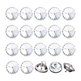 uxcell 20pcs Furniture Tack Nails 12mm Dia Round Head Diamond Shape Glass Thumbtack DIY Sofa Buttons Cupboard Craft Decorate Clear
