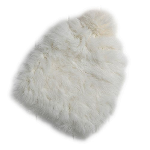 XWDA Women's Winter Knitted Rabbit Fur Hat Cap (White)