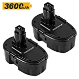 2Packs 18 Volt 3600mAh Replacement 18V Battery for Dewalt DC9096 DC9098 DC9099 DW9095 DW9096 DW9098 DE9038