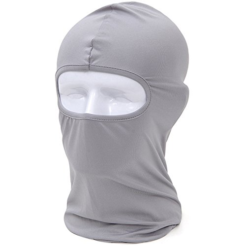Joyful Store Motorcycle Balaclava Full Face Mask Breathable Anti UV Cycling Bicycle Riding Mask Hat (Light Gray)