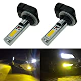 Calais Extremely Bright 881 LED Fog lights 2000 lumens High Power COB Chips LED 881 886 889 894 3000K Yellow LED Fog Lights Lamp Bulbs Replacement (Set of 2)