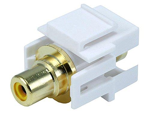 Monoprice 106567 Keystone Jack-Modular RCA with Yellow Center Flush Type, White