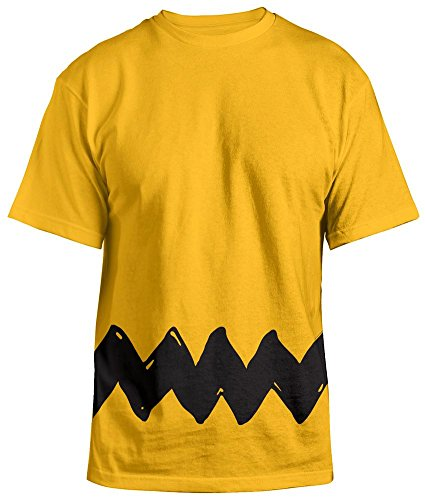 Peanuts Charlie  Men's Costume T-shirt XXL, Yellow Striped (Charlie Brown Ghost Costume)