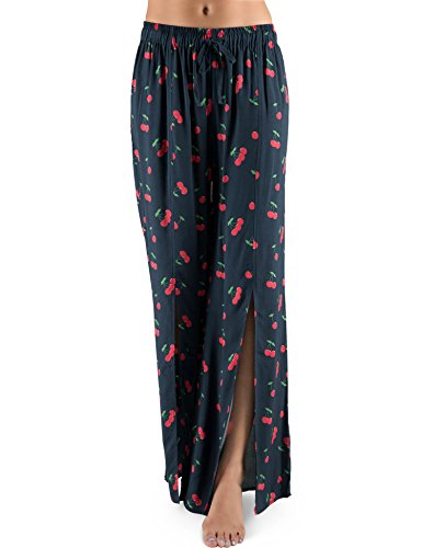 Palazzo Cherry (Rebel Canyon Young Women's Tie Front Wide Leg Pajama Pant Medium Cherry Print)