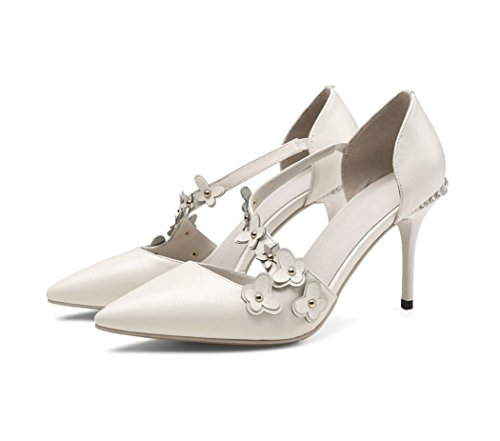 Shoes Sandals Elegant Color Shallow Shoes Size High Bare Comfortable Soft Sexy Leather Dream Summer Elegant Heels 35 Shoes White gwYZ6qv0