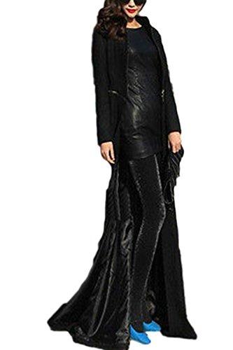 Maxi Black Elegante Sólido Clásico Outwear La Larga Manga Invierno Otoño Lana Mujer Swing Trenchcoat De zAxq6HUw