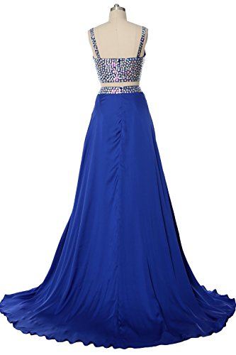 Evening Straps 2 Gorgeous MACloth V Piece Grau Formal Long Party Dress Neck Gown Prom xYqPUwPS