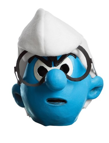 [Rubie's Costume The Smurfs 2 Adult Vinyl Brainy Mask, Blue/White, One Size] (Brainy Smurf Costume)