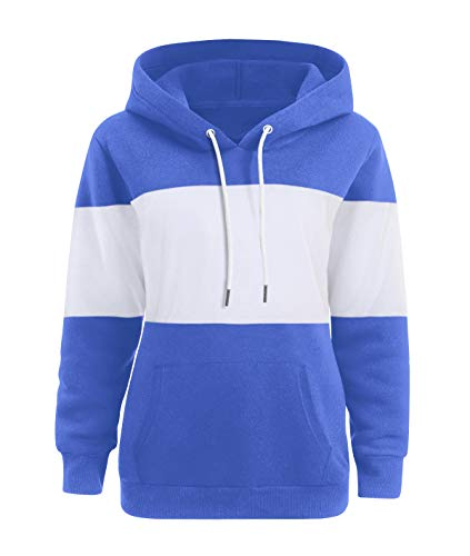 Blue capuche Sweat Pullover Hooded en unie Dasbayla vrac Hoodies Kangourou K avec Ladies couleur Pocket à nZ0AxqSA