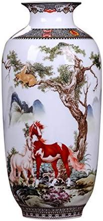 ECYC Chinese Ceramics Vase Handmade Fine Smooth Surface Decorative Animal Horses Vase