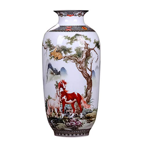 (LKXHarleya Antique Chinese Ceramic Vase Vintage Animal Pottery Vase Horse Painted Oriental Porcelain Flower Vase,Melon Shaped)