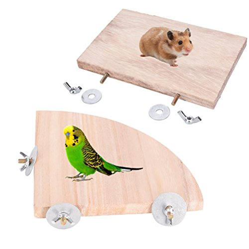 BraveWind 2 PCS Wooden Parrot Platform Bird Cage Perches Fan Square Shape Animals Springboard Small Animals Parakeets Platform for Cage